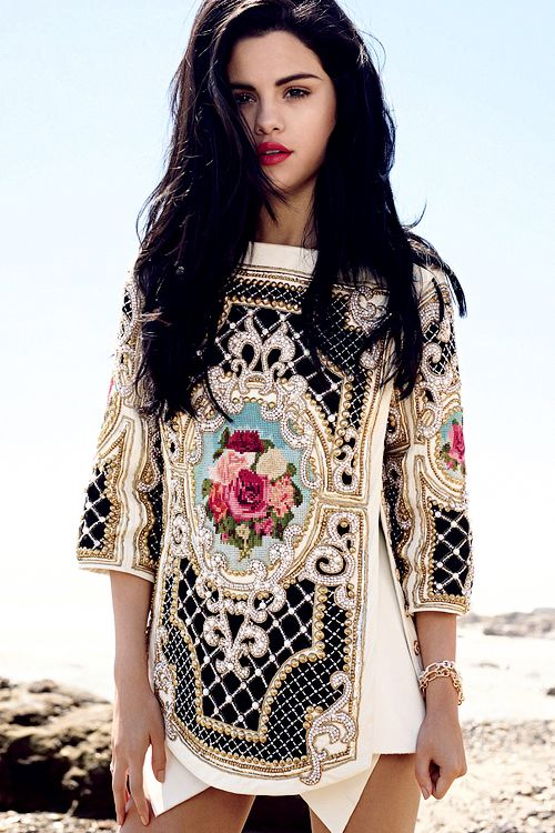 Balmain and Selena Gomez. Baroque and Layers.