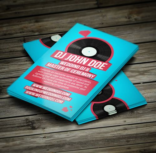 Wedding DJ Retro Business Card Businesscards Music Psdtemplates - Music business cards templates free