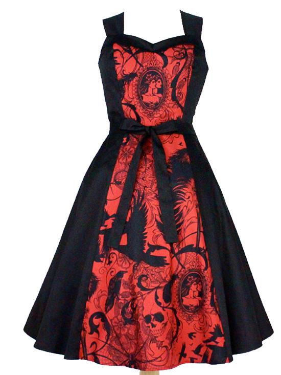 """Women's """"Skulls and Roses"""" Dress by Hemet (Black/Red)"""