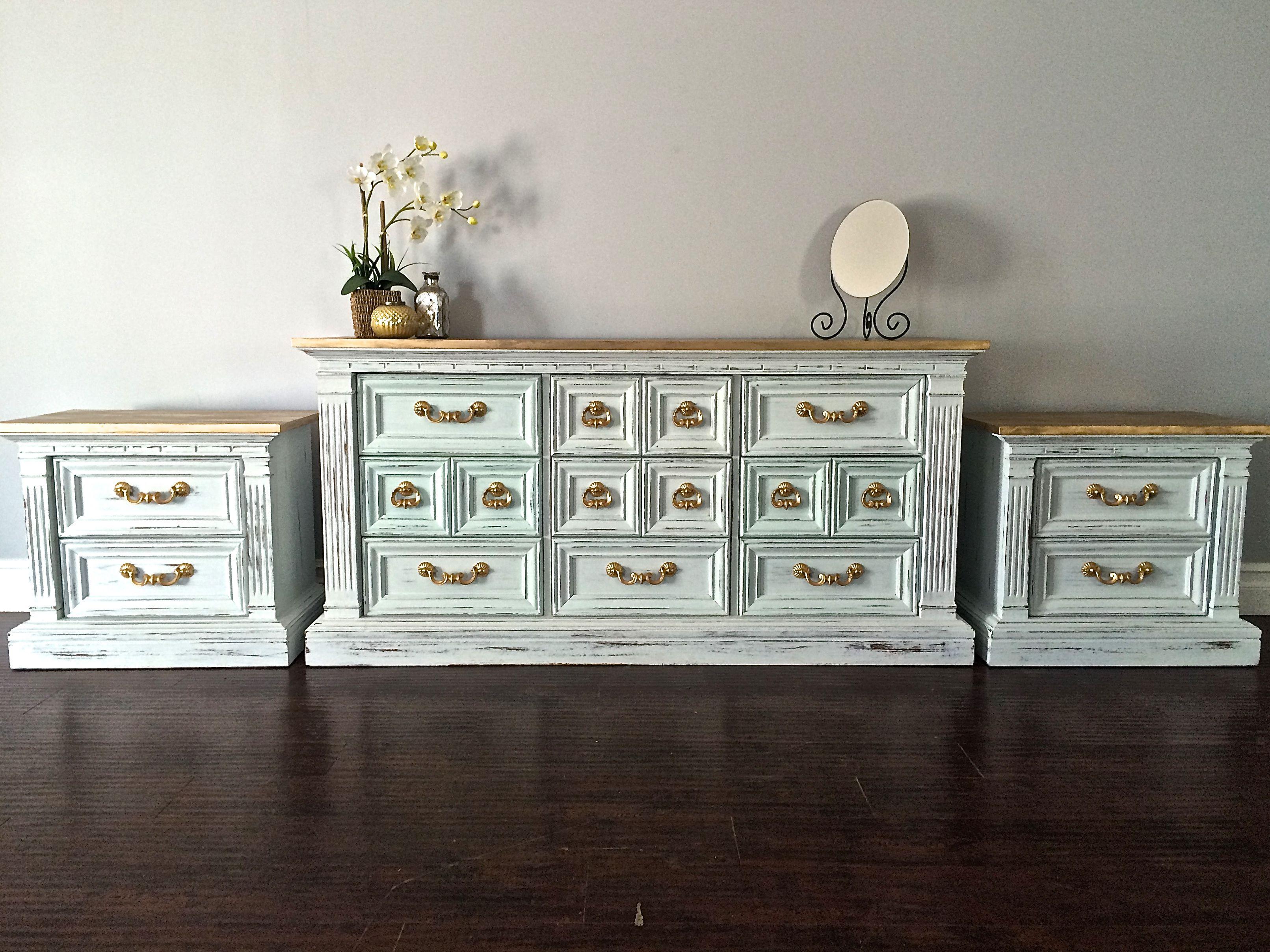 Shabby Chic White Gold Leaf Dresser Set Custom Order For Terri