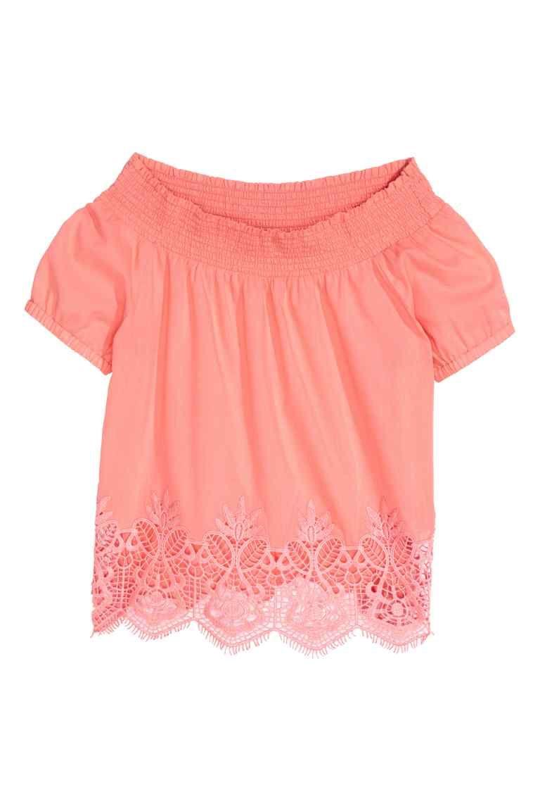 Katoenen top met kant - Coral pink - KINDEREN   H&M NL 1