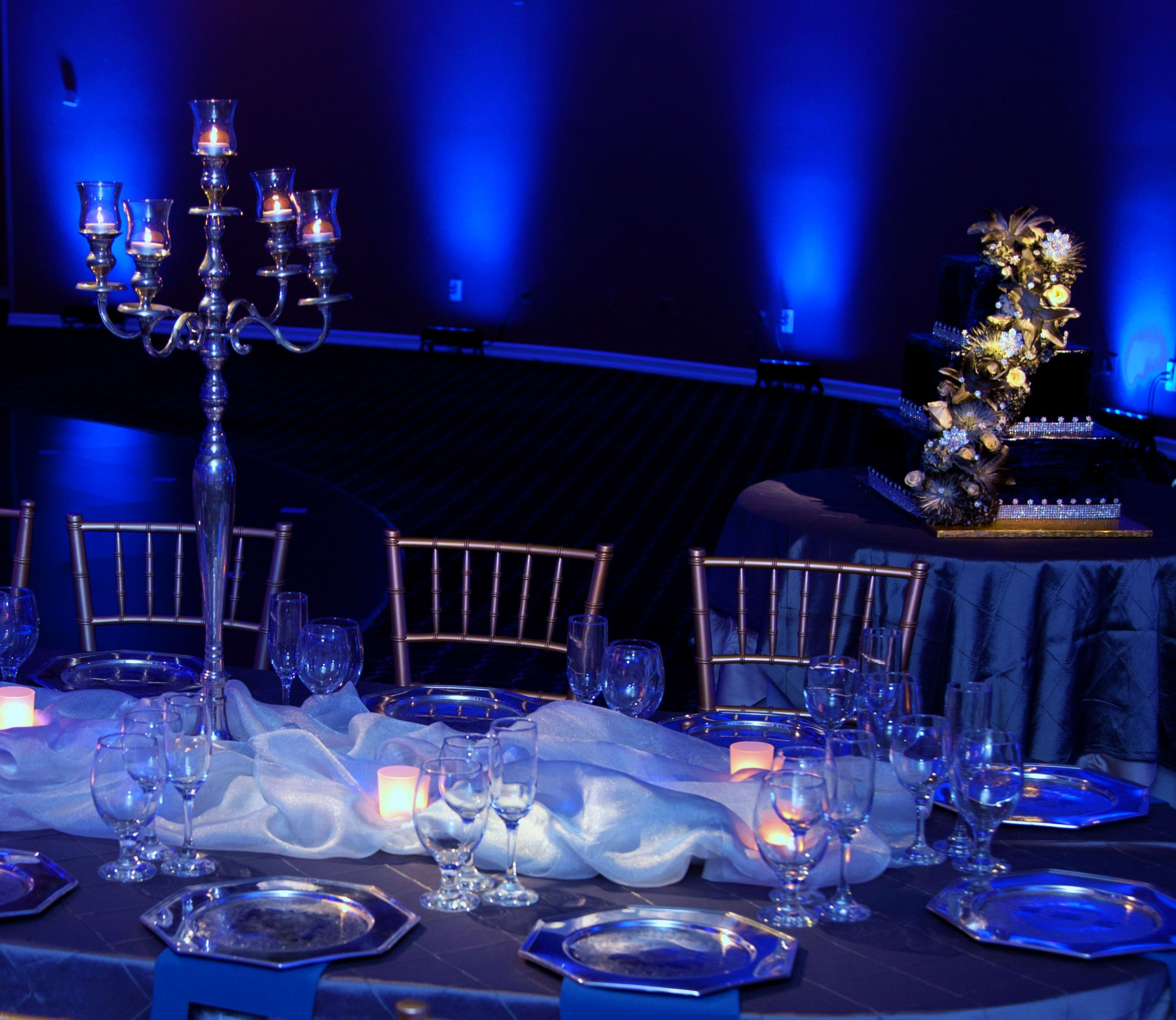 Beautiful Haunted Mansion Table Theme In Blue Up Lighting