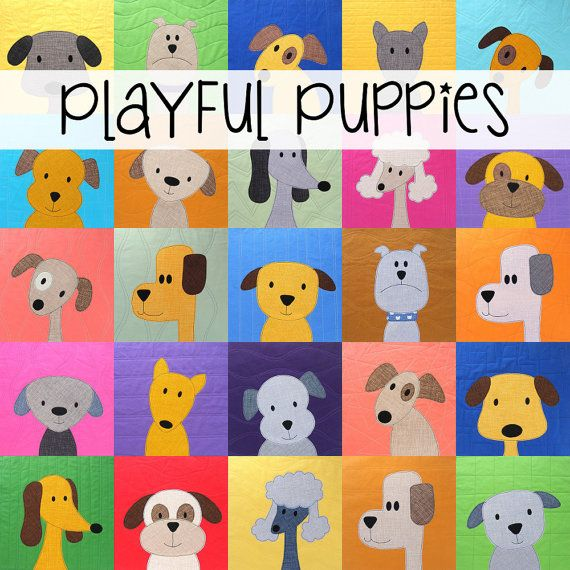 Puppy Dog Quilt Applique Pattern PDF | Applikationen, Pferde quilt ...