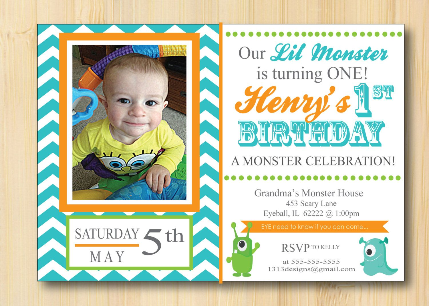 Little Monster 1st Birthday Invitations Chevron - Set of 25 with ...
