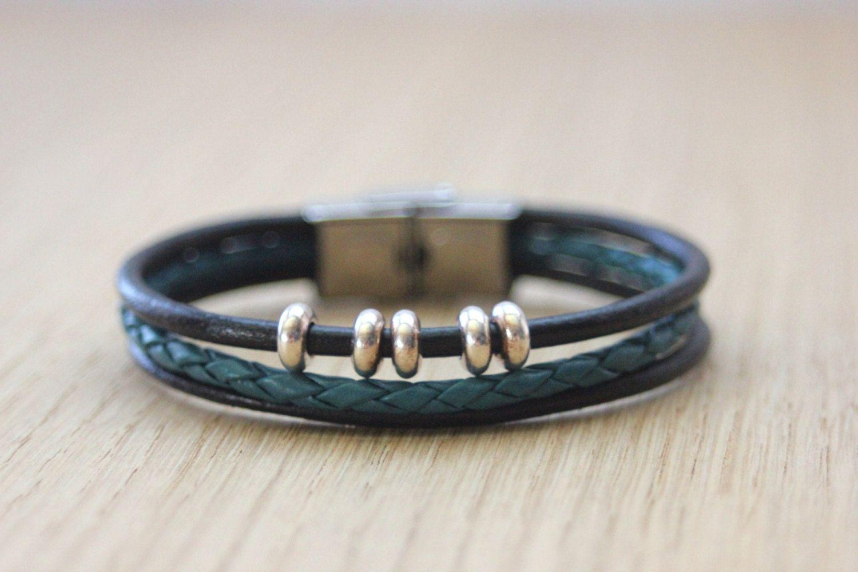 bracelet cuir et perles femme