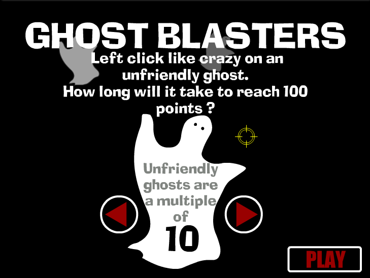 "This is an image from this resource on the Internet4Classrooms' ""Second Grade Math help for standardized tests, games, counting, skip counting"" resource page:    Ghost Blasters.    Click on ghosts that are multiples of ten. You can get multiple points on each ghost, so click as many times as you can."