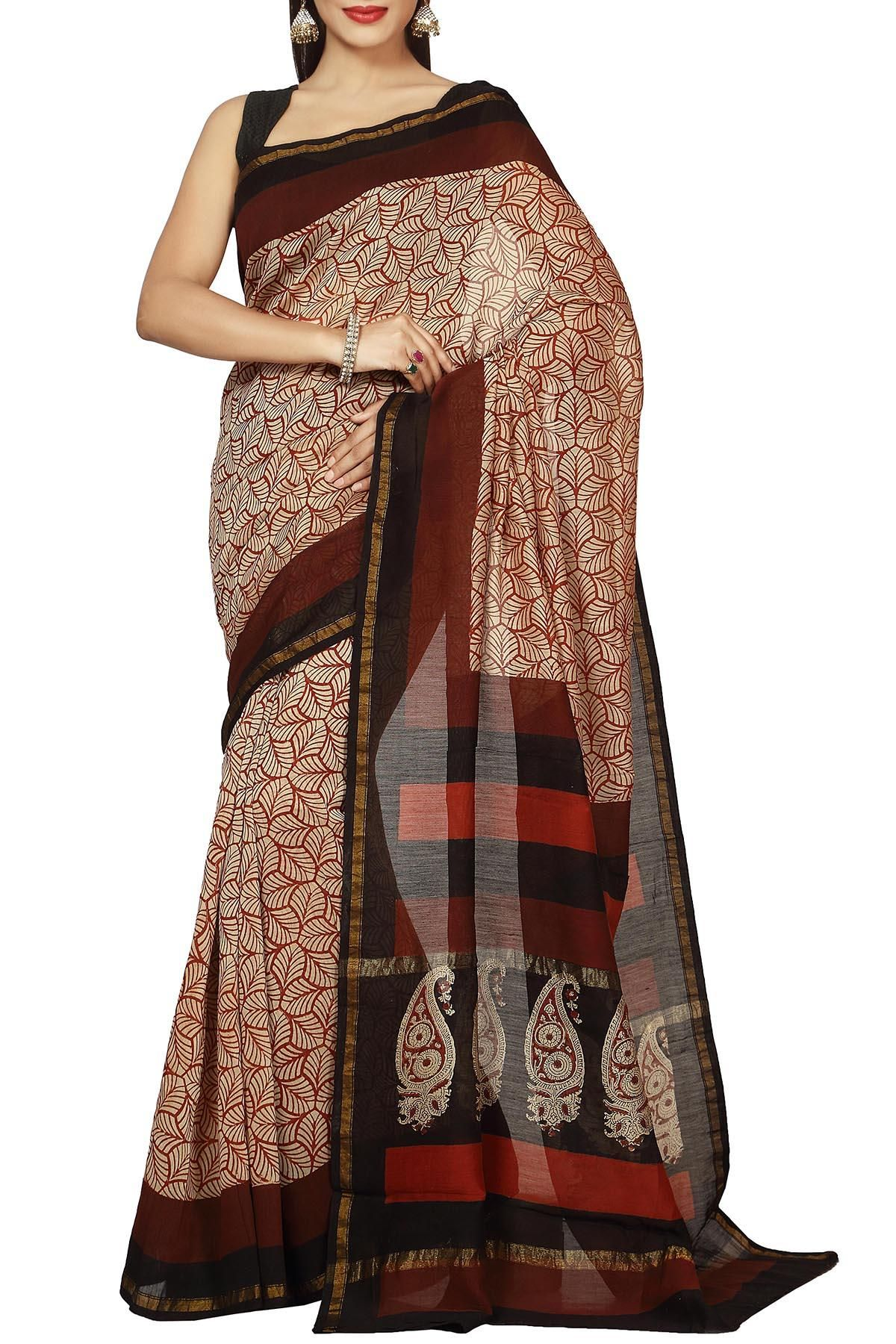 ea64b2566ec Brown   Ivory Paan Motifs Dabu Batik Print Zari Border Chanderi Cotton Silk  Saree