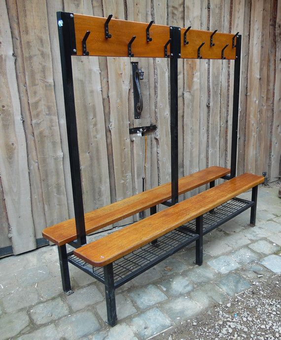 Vintage School Coat And Shoe Cloakroom Bench With Images Yoga Decor Furniture Metal Furniture
