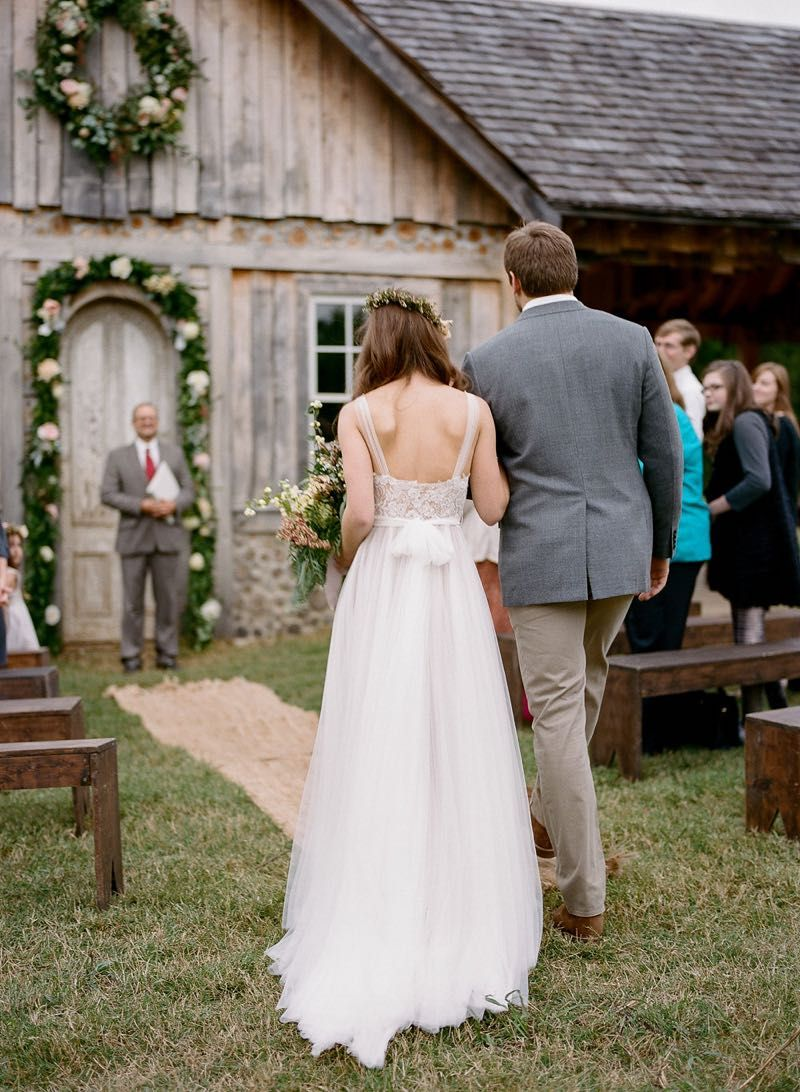Father Walking His Daughter Down The Aisle Charming Cedar Cottage Wedding Hannah