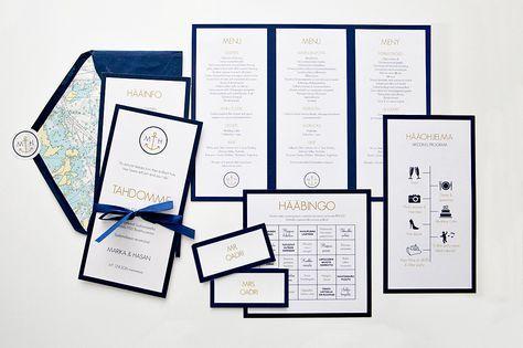 Custom made wedding stationery by www.makeadesign.fi / nautical wedding theme - wedding invitation - meriteemaiset hääkutsut ja hääkortit - häät hss boathouse- häämenu - hääohjelma - paikkakortit - hääbingo / MakeaDesign