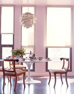 I'm pretty obsessed with the lavender/pink of this dining space. Look at all that natural light.