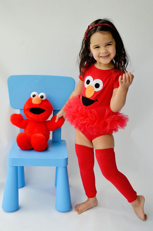 Elmo Inspired Tutu Bodysuit Happy Red Sesame Street Monster Toddler Baby Girl Birthday 12-18
