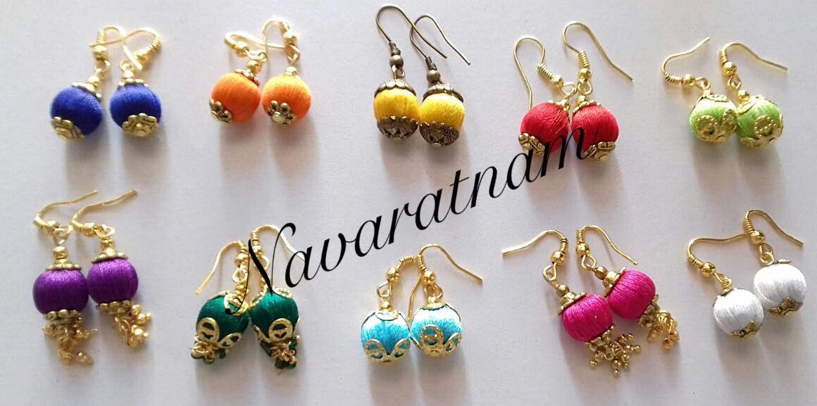 Simple Daily Wear Silk Thread Wrapped Bead Earring Hooks For Kids