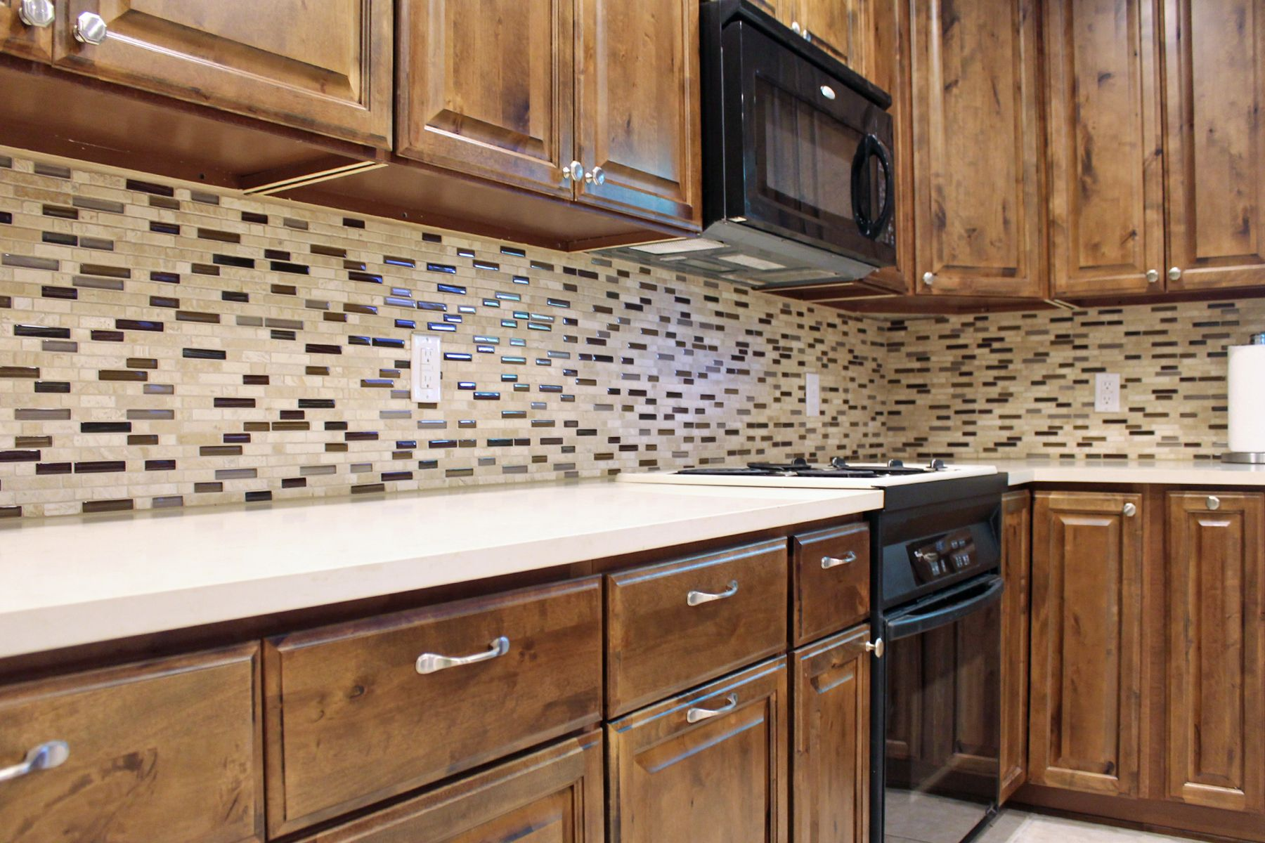 Kitchen Design Dark Brown Rustic Cabinets White Quartz Countertops Mosaic Tile Backsplash Remodeling Rustic Cabinets White Quartz Countertop Kitchen