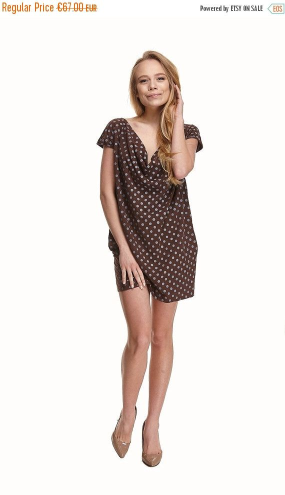 42b91b6ff74 Summer brown loose draped cotton sundress with gray polka dots from jersey