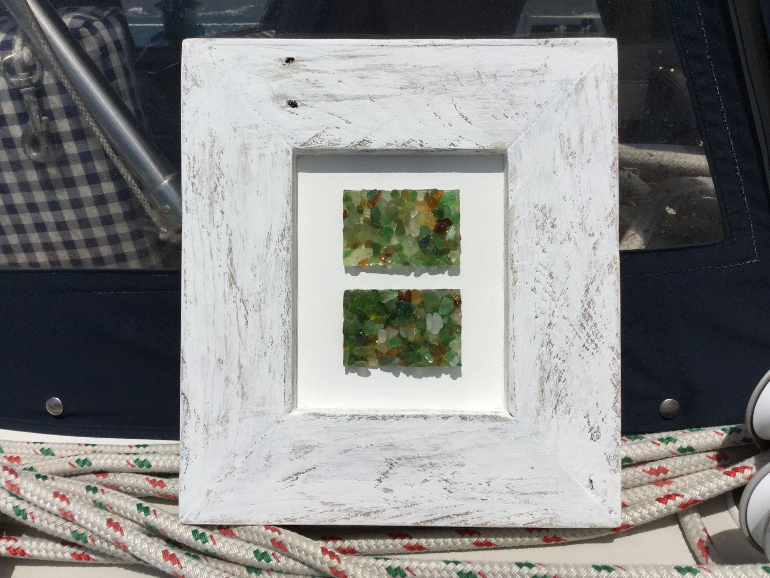 Framed Sea Glass Collection in Whitewashed Rustic Open Frame. Marine ...