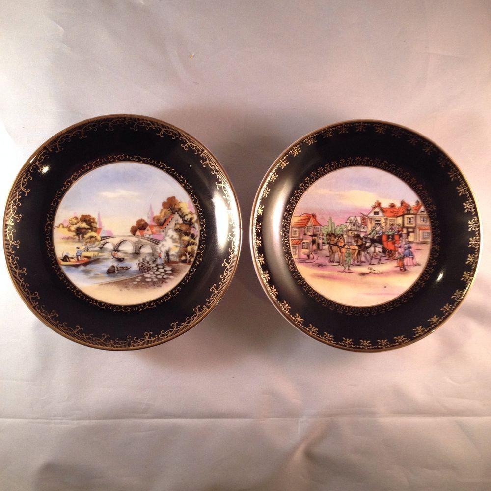 Vintage Wall Plates Wall Plates Royal Sealy Japan Coaching Scenes