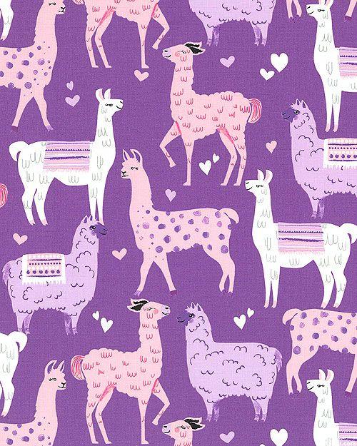 Cute Alpaca Wallpaper Packmates For The Love Of Llamas Grape Purple In 2019