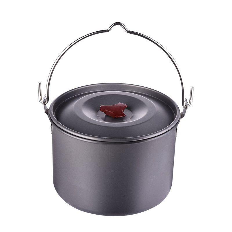 5l Cooking Pots Pans Outdoor Camping Cookware Hanging Picnic Pot Pan Aluminum Alloy Camping Stove Tool Outdoor Cooking Pot Outdoor Cooking Stove Hanging Pots