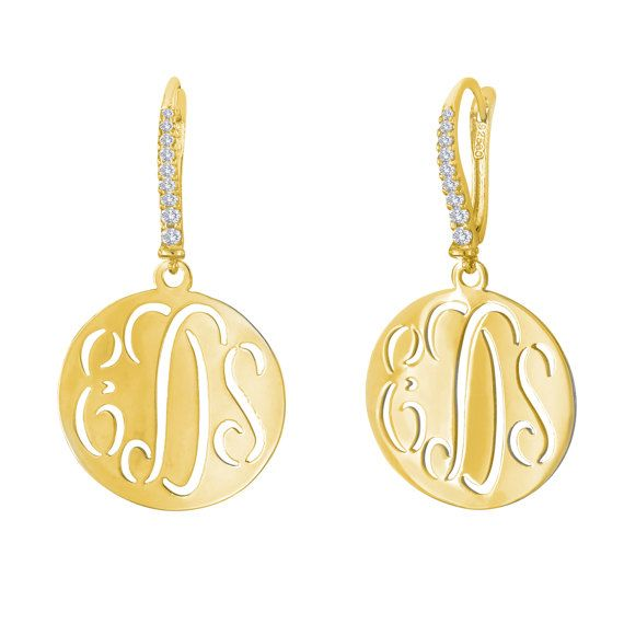 14kt. Yellow Gold or White Over Silver Cut Out monogram Earrings Hand cut-out script monogram earrin