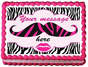 mustache cake designs | GIRLS-PINK-MUSTACHE-ZEBRA-Edible-image-cake-topper-design