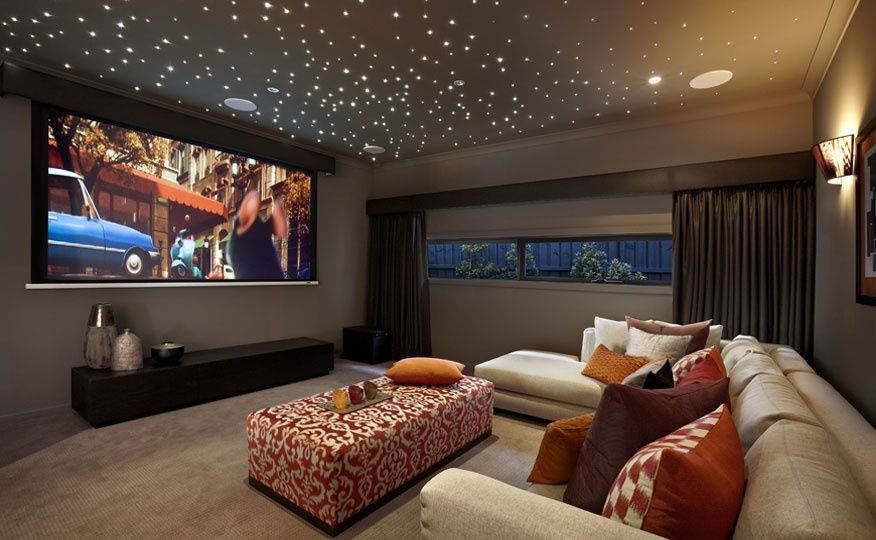 Love For Media Room Fun Pop Of Color Still Cozy Chic Home Cinema Room Home Theater Design Home Theater Rooms