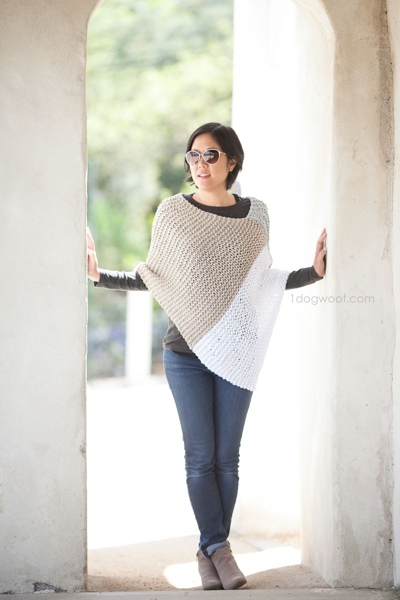 Easy Knit Catalunya Colorblock Poncho | Ponchos, Capuchas y Sencillo