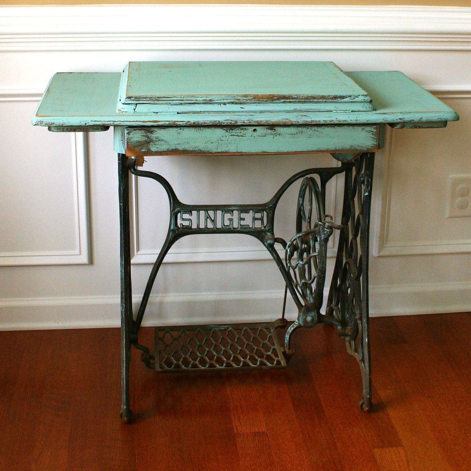 Antique Entryway Table vintage turquoise entryway table desk. singer treadle sewing