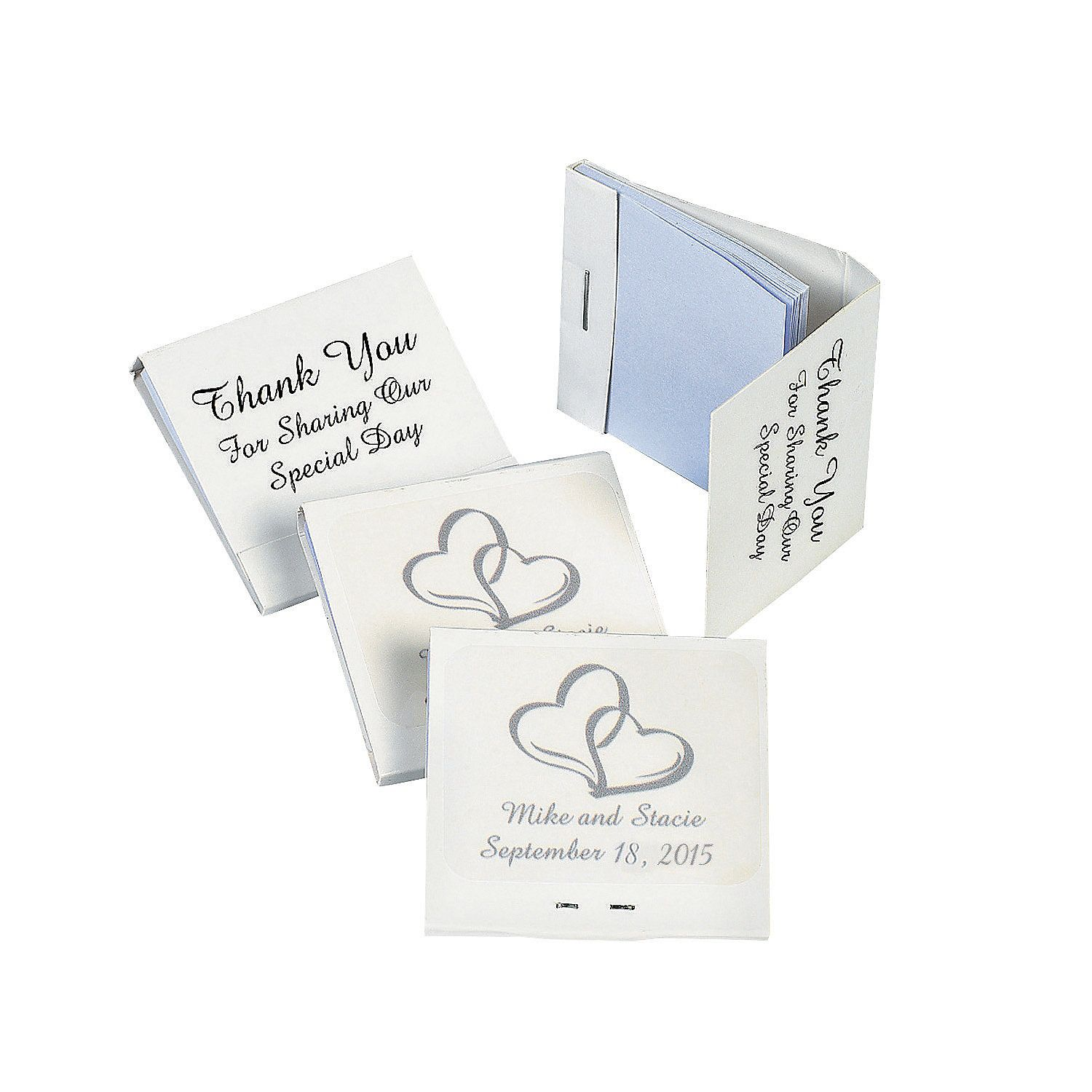 Personalized Two Hearts Matchbook Notebooks Reception Weddings