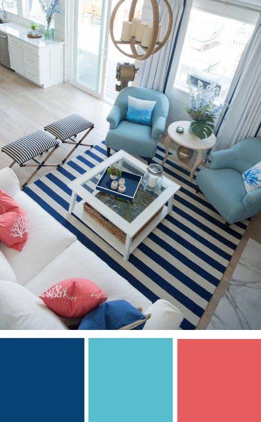 Blue Coastal Living Room Color Palette #coastallivingrooms