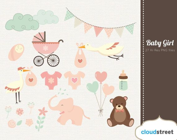 Baby girl clipart ( baby shower & birth announcement clip art ...