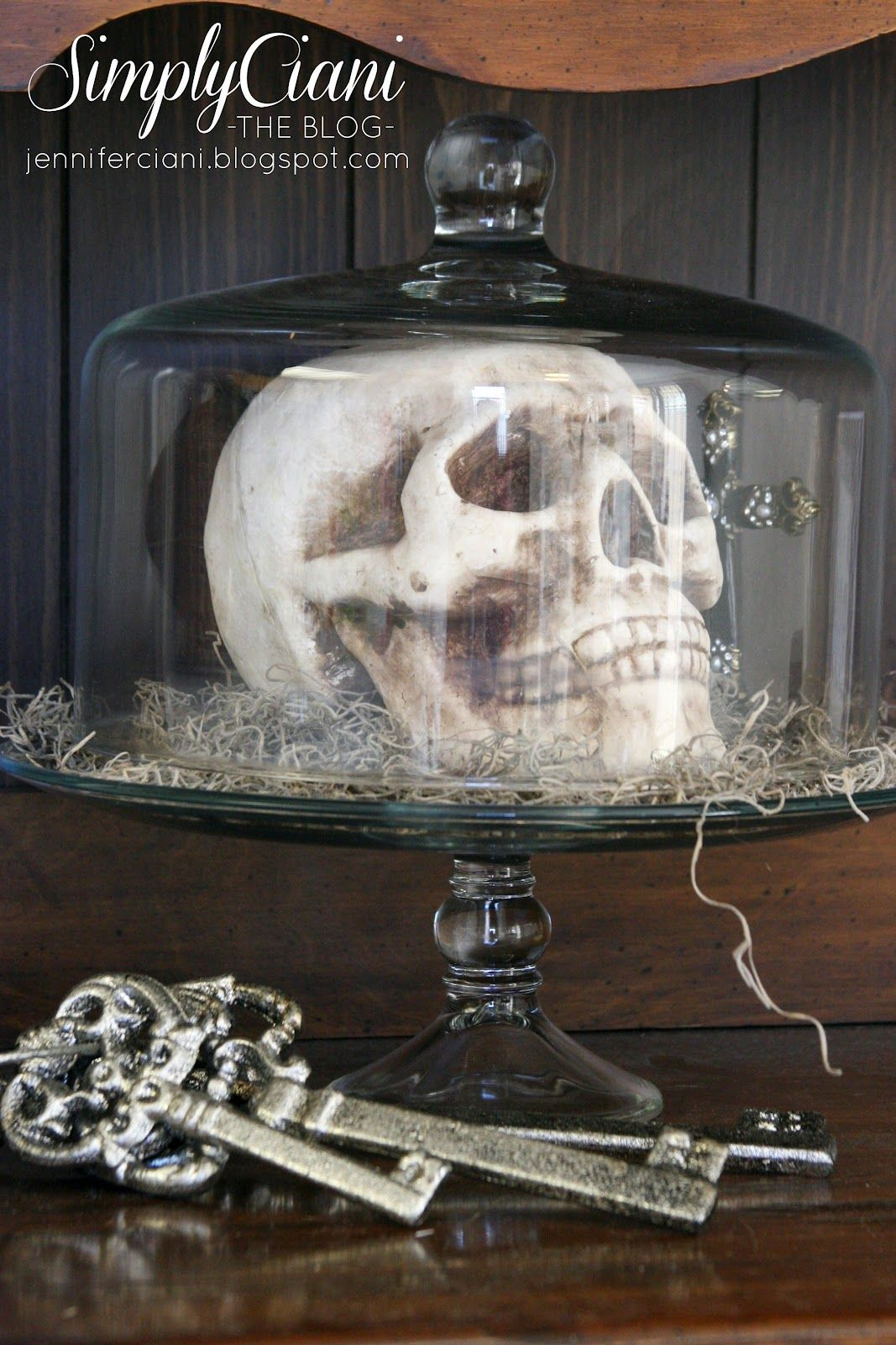 Use skull inside of a cake plate for halloween decorhave a great - Inside Halloween Decorations