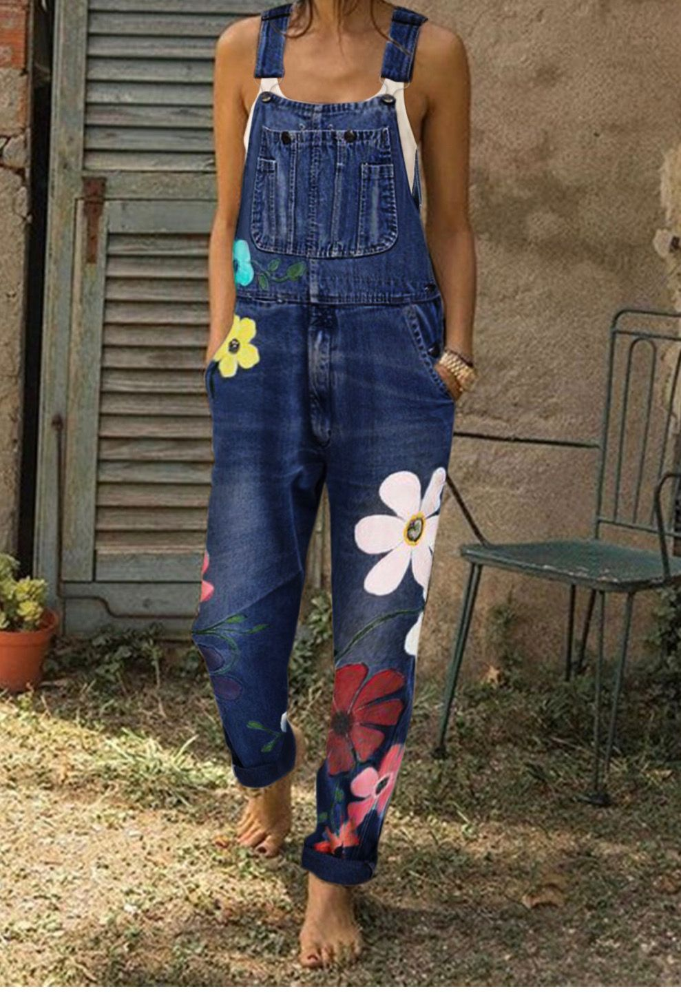 Moda Donne Denim Benda Volant Tute Senza Maniche Pantaloni Lunghi Playsuit