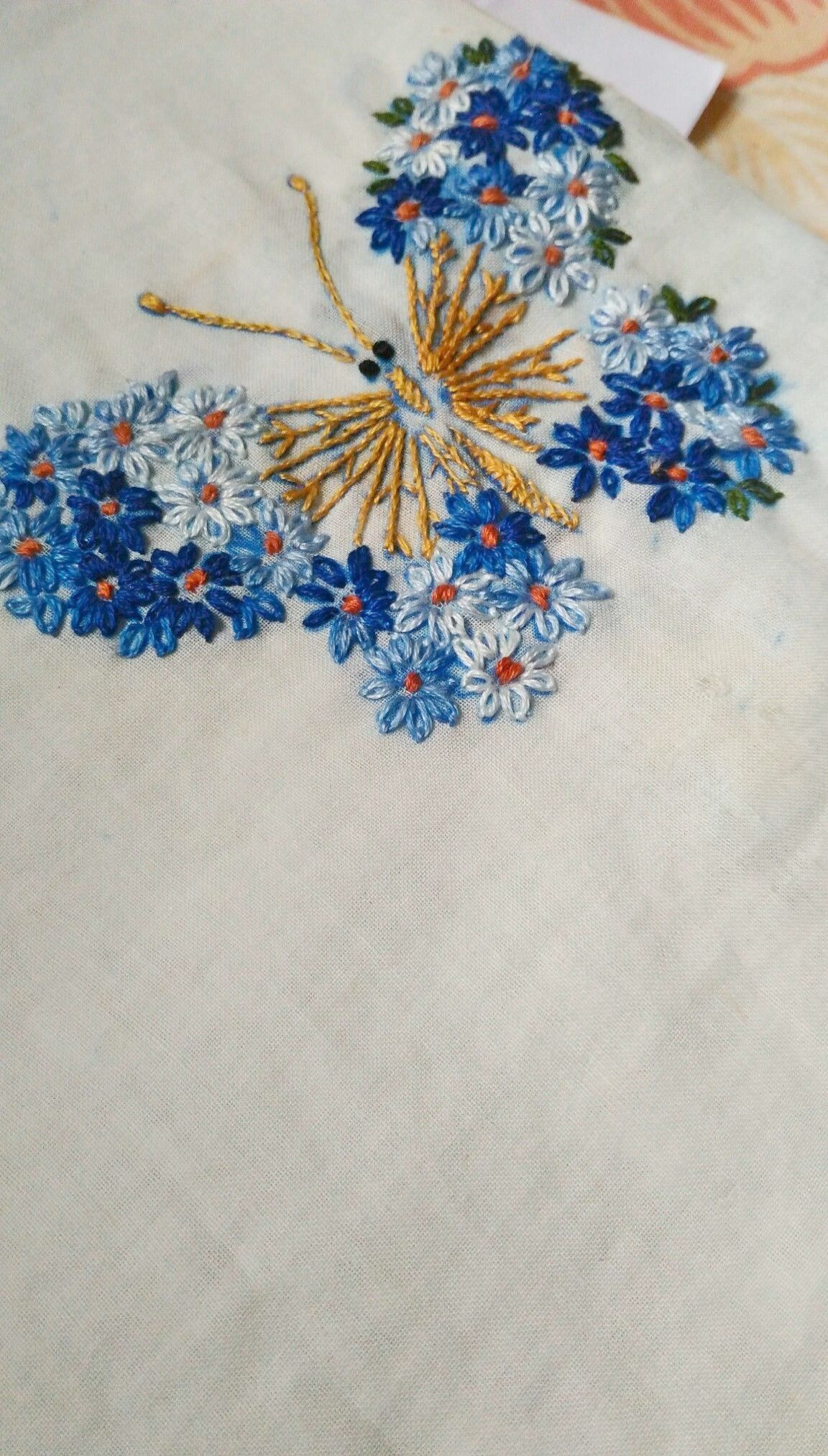 Easy hand embroidery lazy daisy stitching butterfly Hand