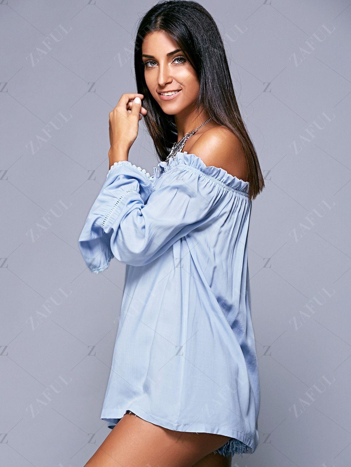 Ruffled Off The Shoulder Long Sleeve Blouse LIGHT BLUE: Blouses   ZAFUL