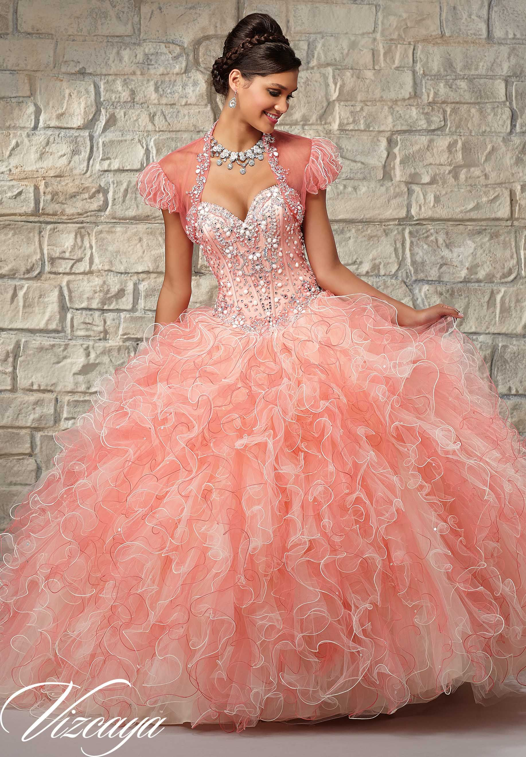 Two-Tone Ruffled Tulle with Beaded Bodice Quinceanera Dress ...
