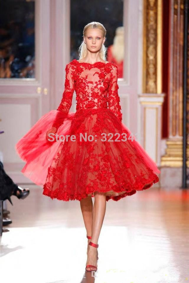 2015 Sexy Unique Noble Red Prom Dress Lace Short Ball Gown See Through Long Sleeves Tulle