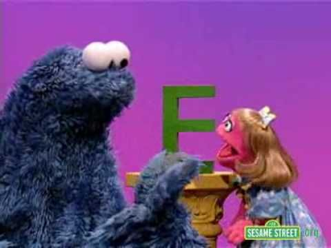 Sesame Street Letter E with Prairie Dawn and Cookie Monster