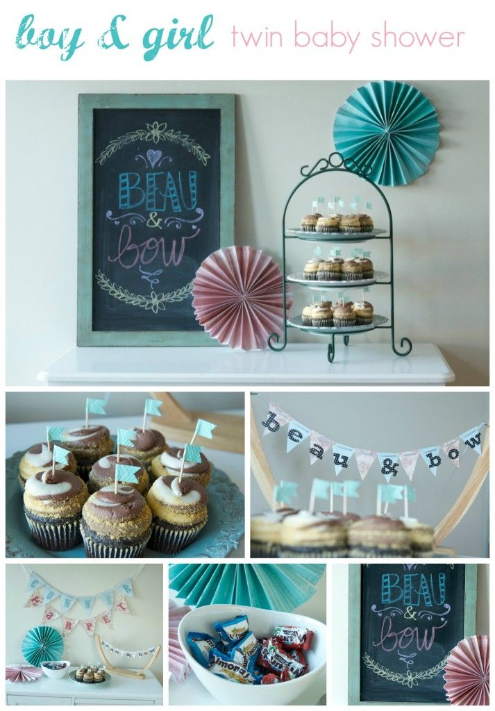 Boy And Girl Twin Baby Shower Theme Beau And Bow So Adorable