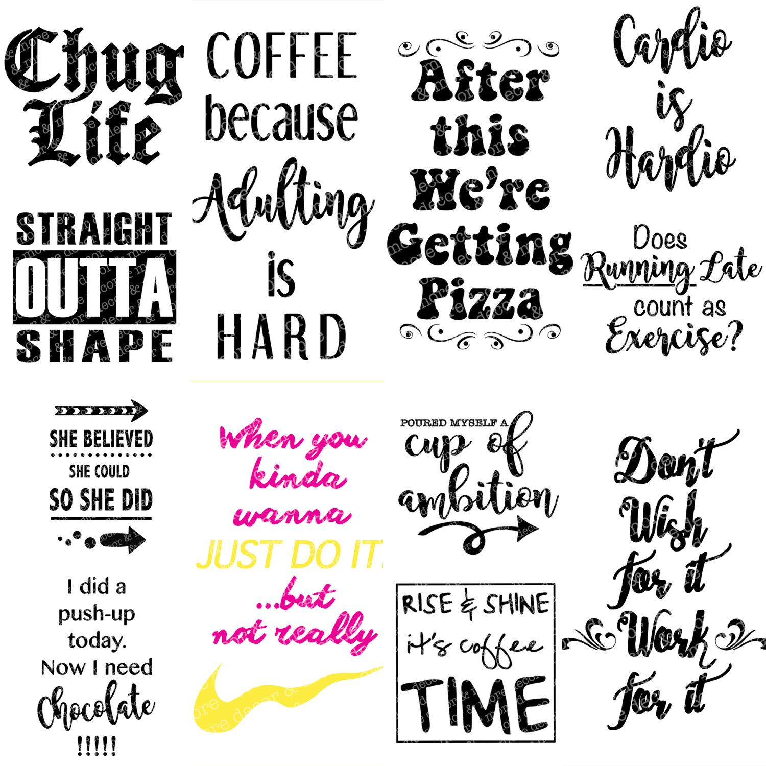 12 SVG Sayings for Water Bottles Coffee Tumblers or mugs. | Etsy