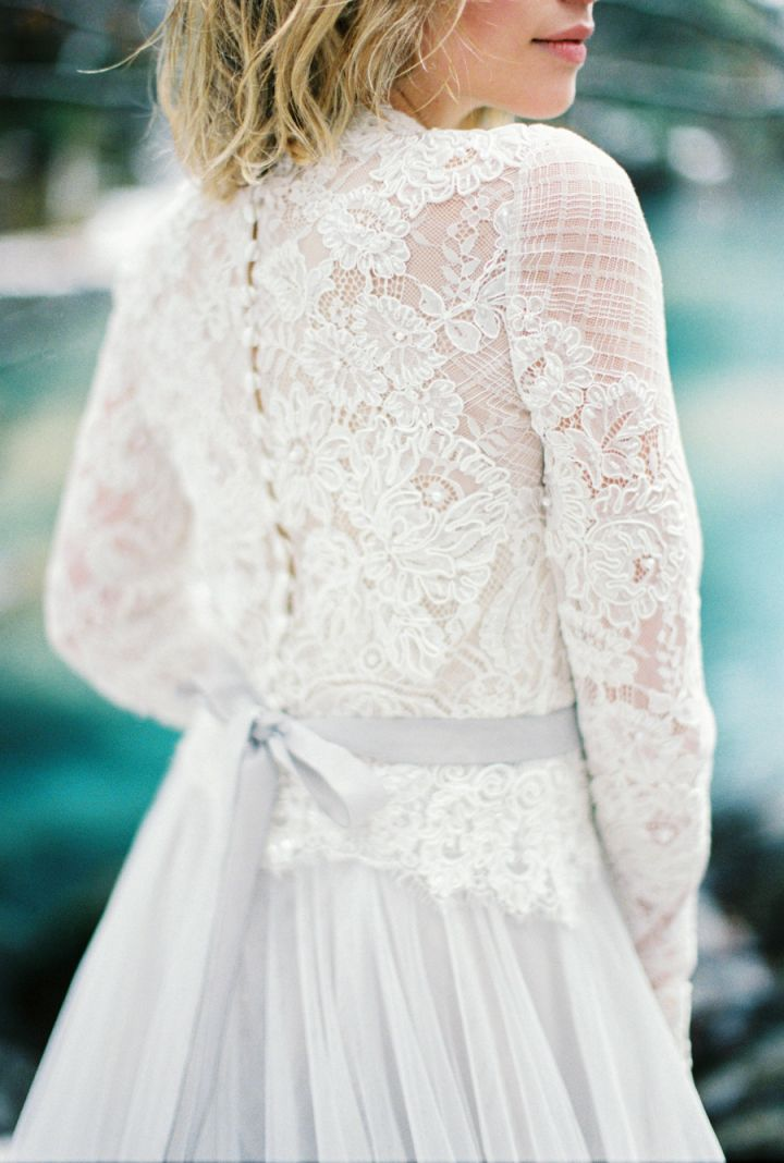 Gorgeous long sleeve wedding dress , winter wedding gown