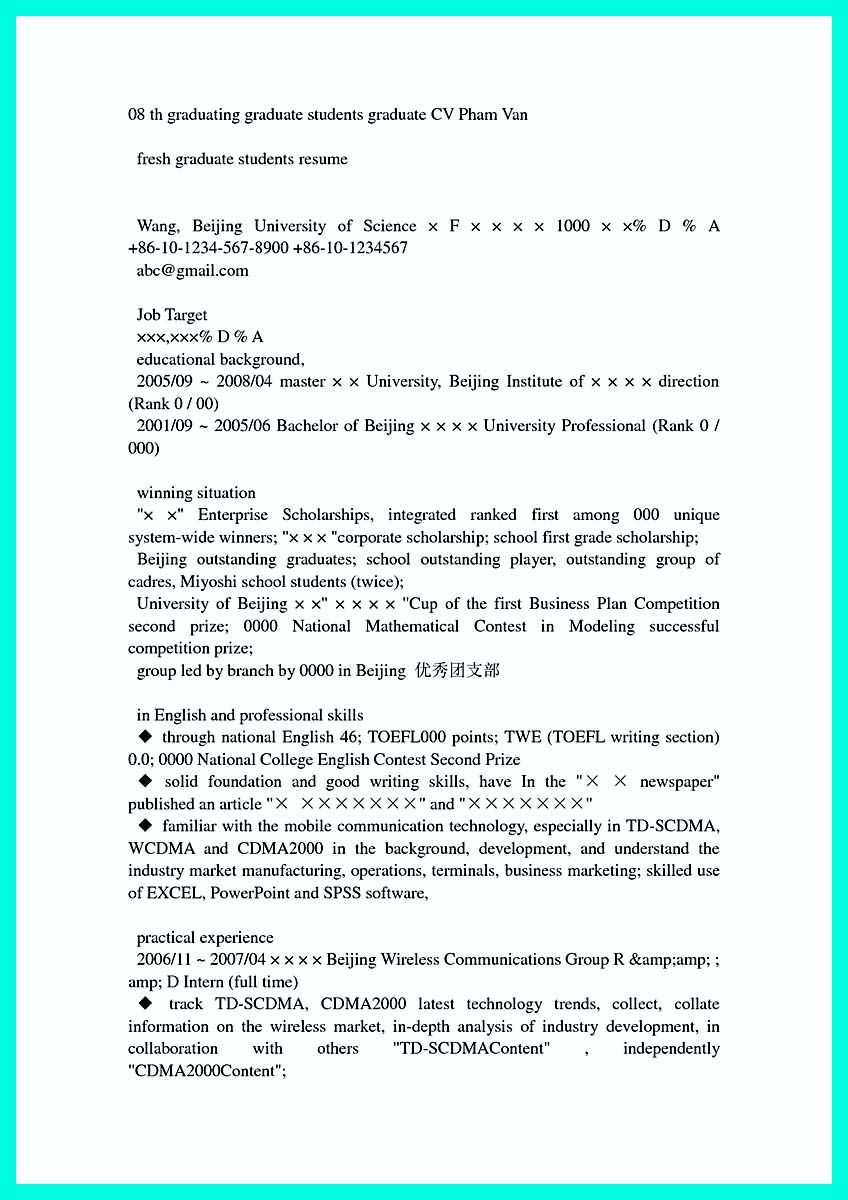 Awesome Cool Sample Of College Graduate Resume With No Experience Check More At Http Snefci Org Cool Sample Of College Graduate Resume With No Experience