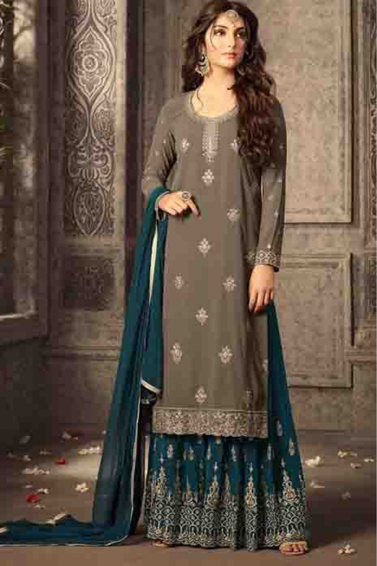 0a8ef1b7b4 Buy Georgette Sharara Suit In Grey Colour @ ninecolours.com. Free Shipping  in India available!