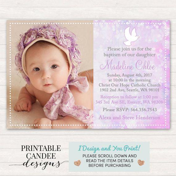 Purple Baptism Invitation - Dove Christening Invitation - Purple - invitation for baptism girl