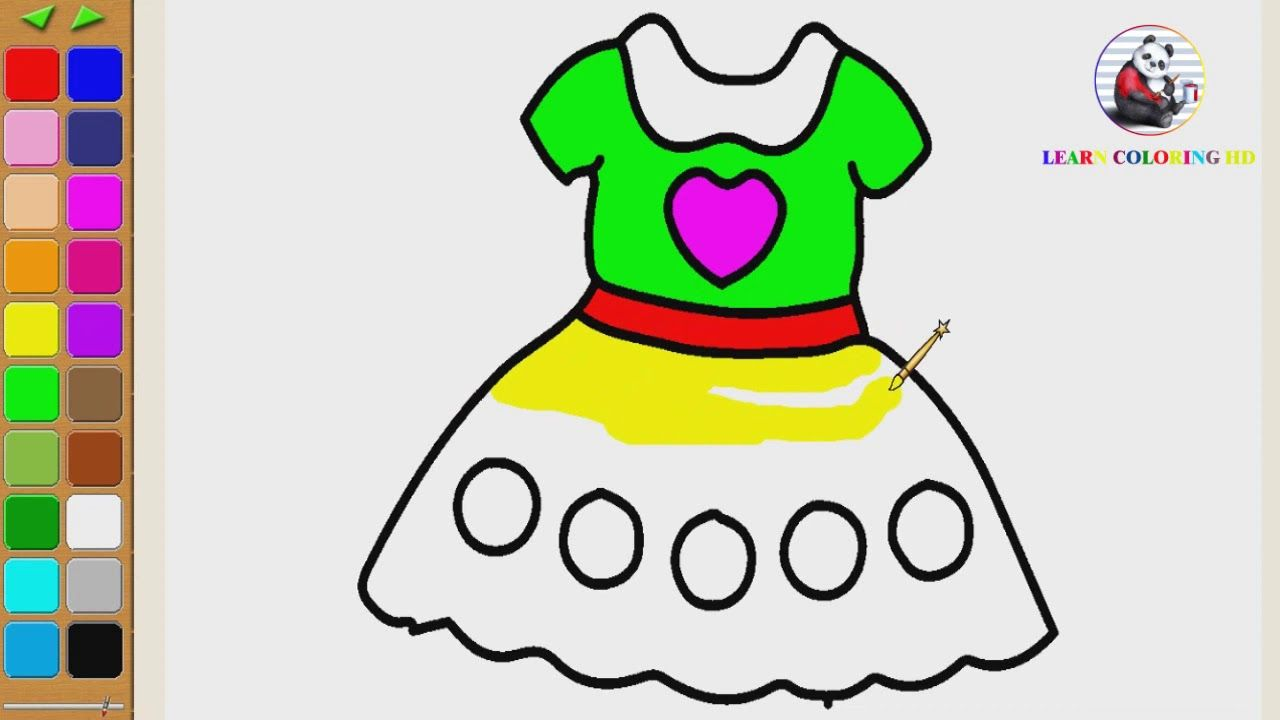 How To Draw Glitter Toy Baby Dress Coloring Page For Kids I Learn Colori Coloring Pages For Kids Baby Toys Coloring Pages