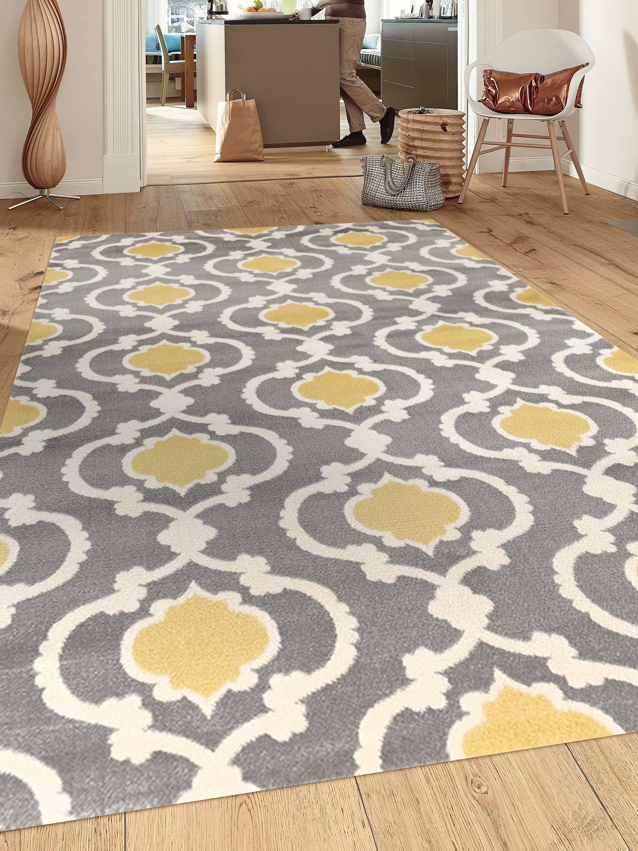 Rug Moroccan Trellis Contemporary Indoor Area 9 X 12 Gray Yellow