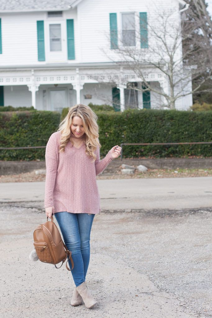 Blush Pink Sweater Cut Out Neck Trend Top and Jeans  5a3196b60