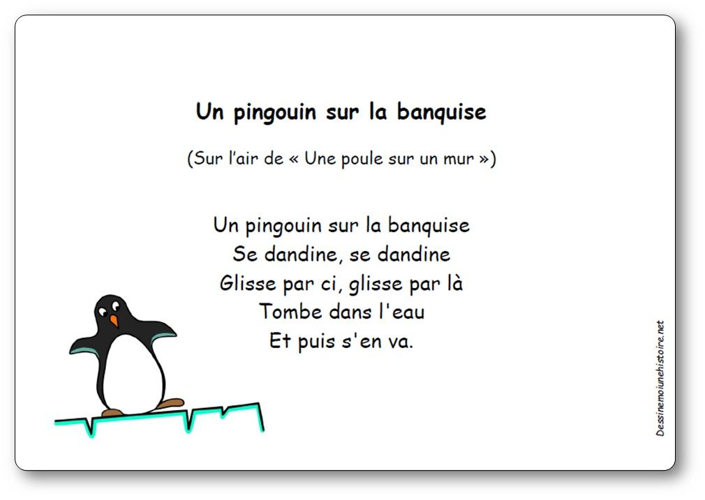 Comptine un pingouin sur la banquise paroles illustr es - Le petit jardin winter garden lyrics toulouse ...