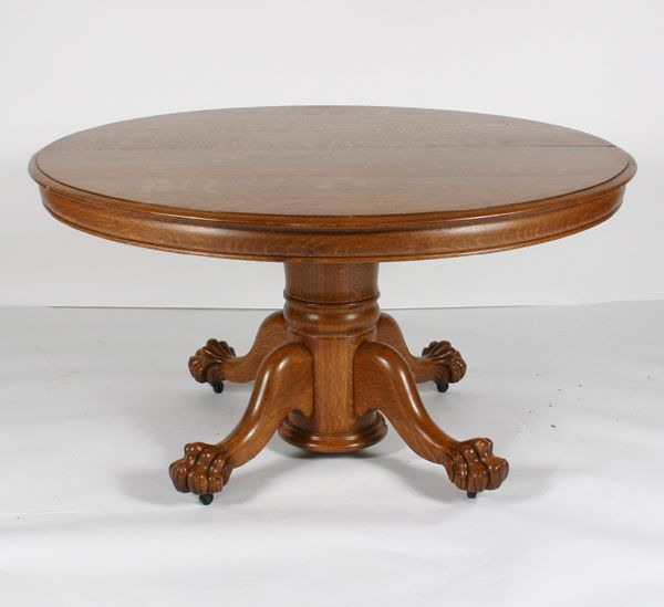 Round Table Quarter Sawn Oak Expanding Center Pedestal And Four