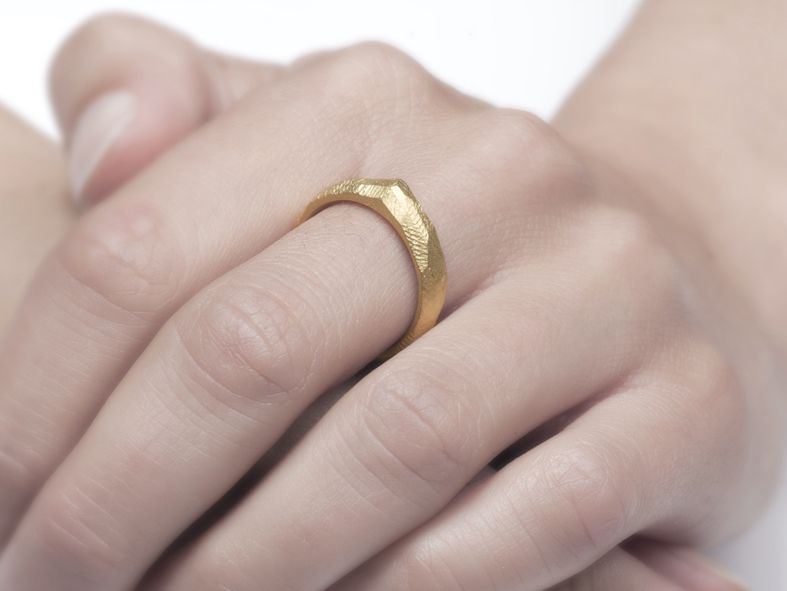 """Facett-Ring  """"Zugspitze"""" vergoldet von Götsch Schmuckgestaltung auf DaWanda.com"""